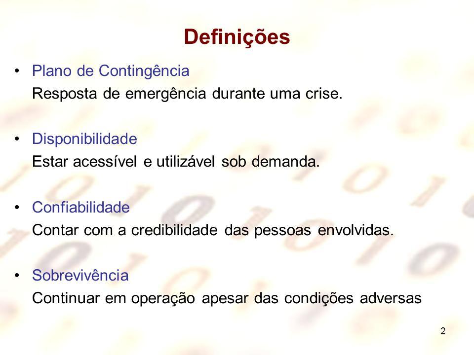 2 Definições Plano de Contingência Resposta de emergência durante uma crise. Disponibilidade Estar acessível e utilizável sob demanda. Confiabilidade