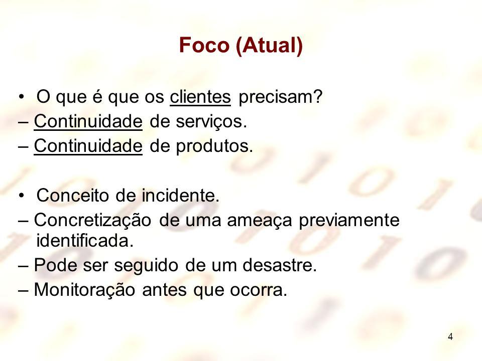 4 Foco (Atual) O que é que os clientes precisam? – Continuidade de serviços. – Continuidade de produtos. Conceito de incidente. – Concretização de uma