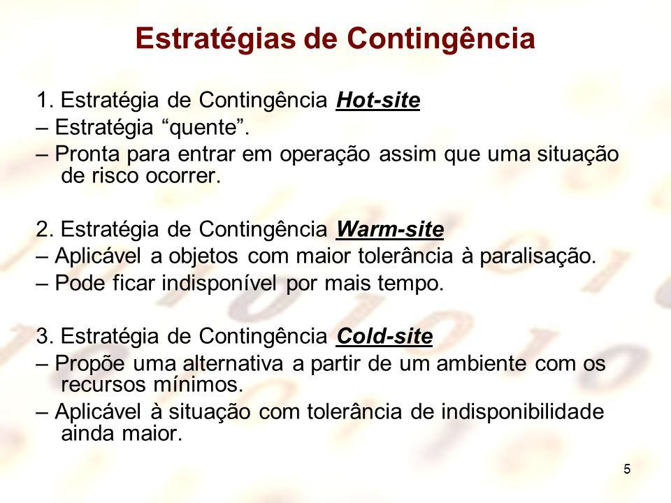 5 Estratégias de Contingência 1. Estratégia de Contingência Hot-site – Estratégia quente. – Pronta para entrar em operação assim que uma situação de r