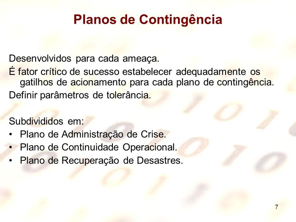 8 Plano de Administração de Crise Tem o propósito de definir passo-a-passo o funcionamento das equipes: Antes, durante e depois da ocorrência do Incidente.