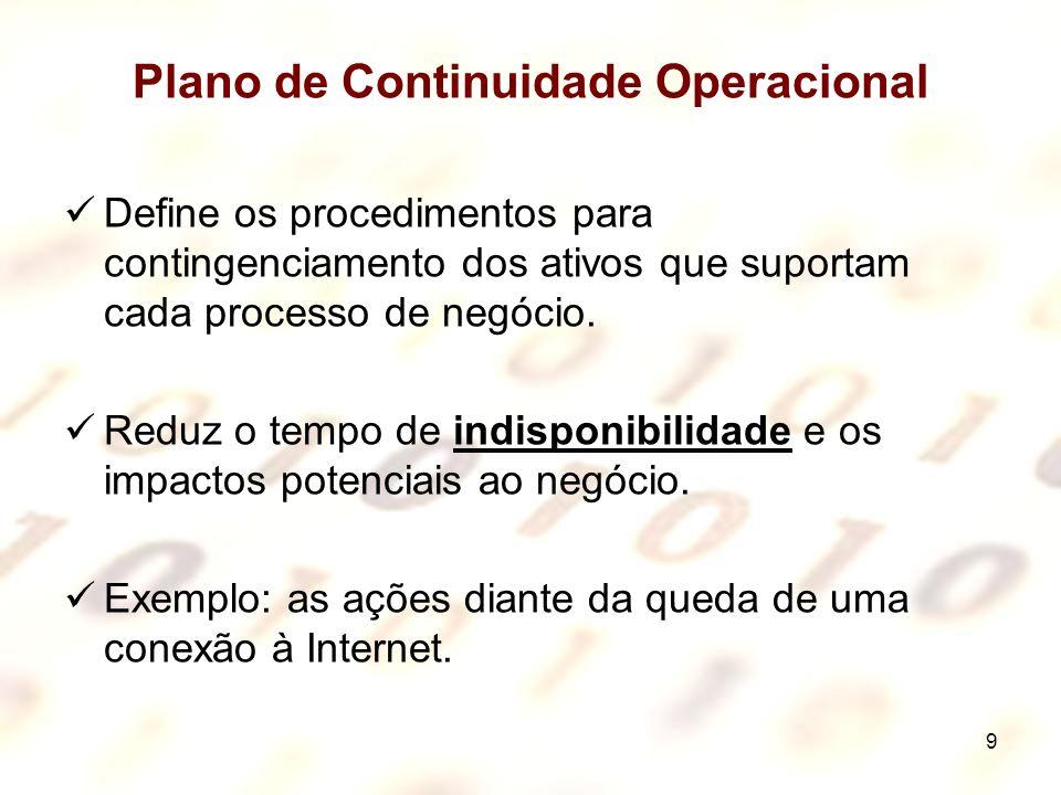 9 Plano de Continuidade Operacional Define os procedimentos para contingenciamento dos ativos que suportam cada processo de negócio. Reduz o tempo de