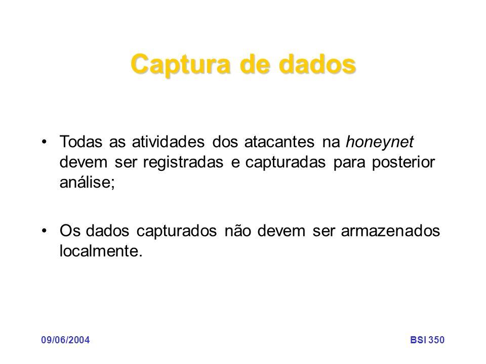09/06/2004BSI 350 Captura de dados Todas as atividades dos atacantes na honeynet devem ser registradas e capturadas para posterior análise; Os dados c