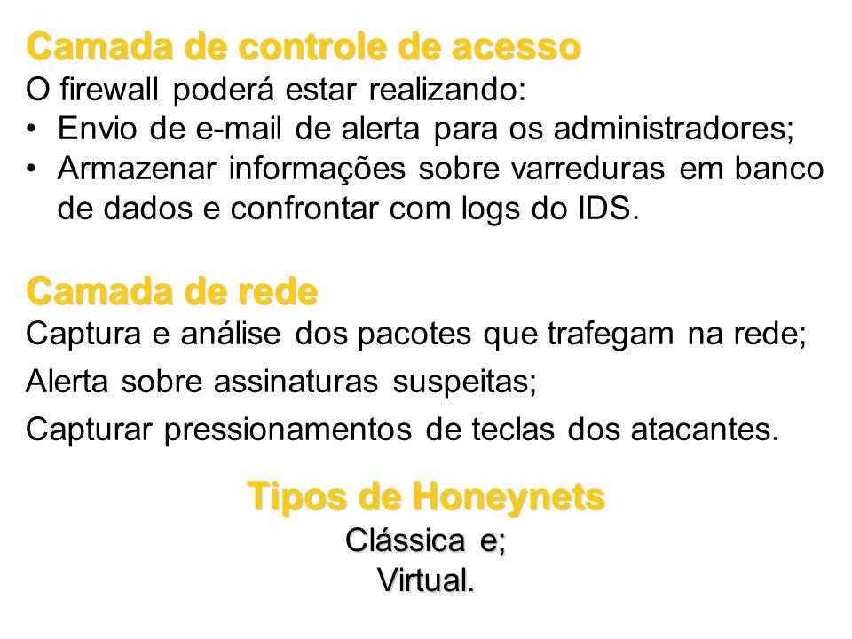 Camada de controle de acesso O firewall poderá estar realizando: Envio de e-mail de alerta para os administradores; Armazenar informações sobre varred