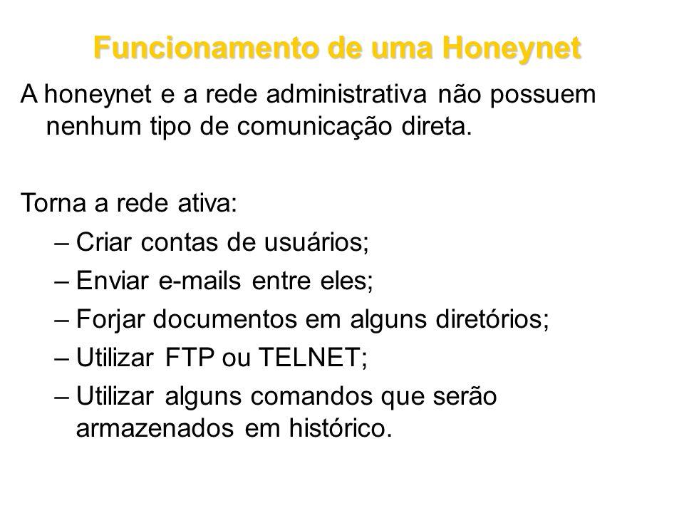 Funcionamento de uma Honeynet A honeynet e a rede administrativa não possuem nenhum tipo de comunicação direta. Torna a rede ativa: –Criar contas de u