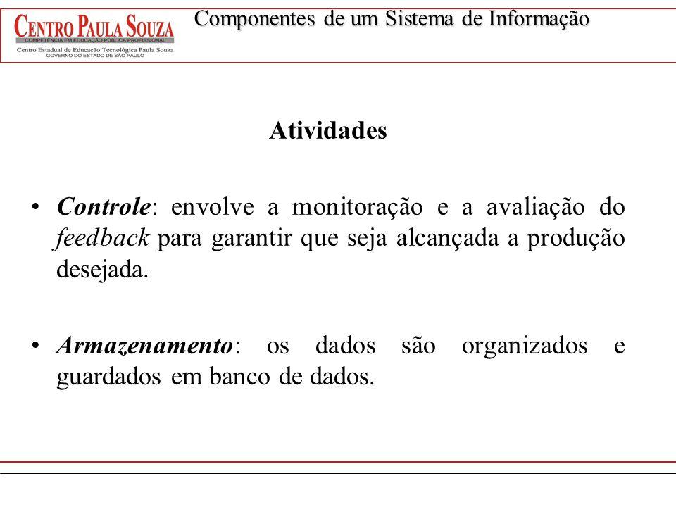 Atividades Controle: envolve a monitoração e a avaliação do feedback para garantir que seja alcançada a produção desejada. Armazenamento: os dados são