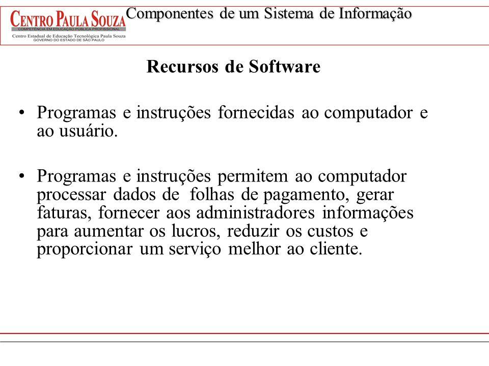 Recursos de Software Programas e instruções fornecidas ao computador e ao usuário. Programas e instruções permitem ao computador processar dados de fo