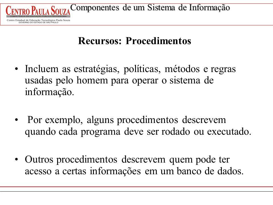 Recursos: Procedimentos Incluem as estratégias, políticas, métodos e regras usadas pelo homem para operar o sistema de informação. Por exemplo, alguns