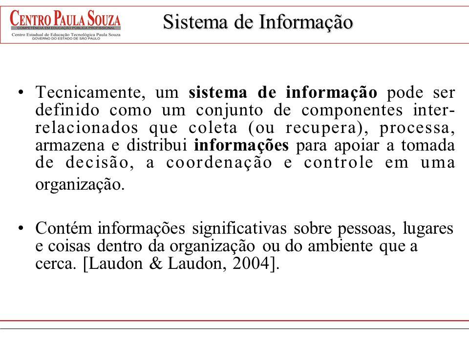 Sistema de Informação Tecnicamente, um sistema de informação pode ser definido como um conjunto de componentes inter- relacionados que coleta (ou recu