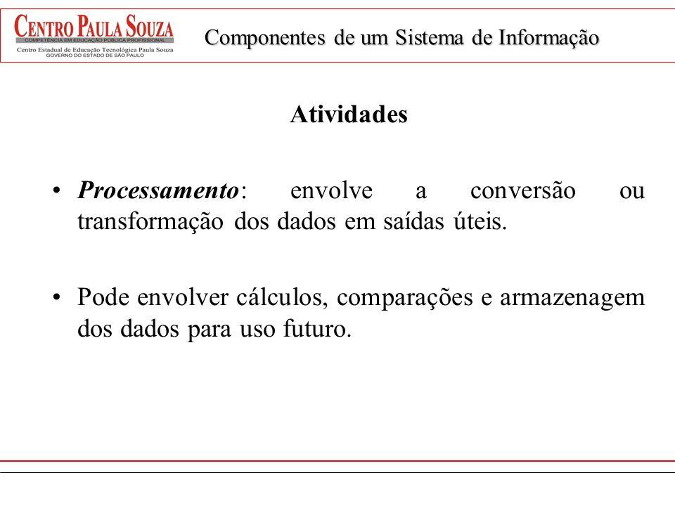 Atividades Processamento: envolve a conversão ou transformação dos dados em saídas úteis. Pode envolver cálculos, comparações e armazenagem dos dados