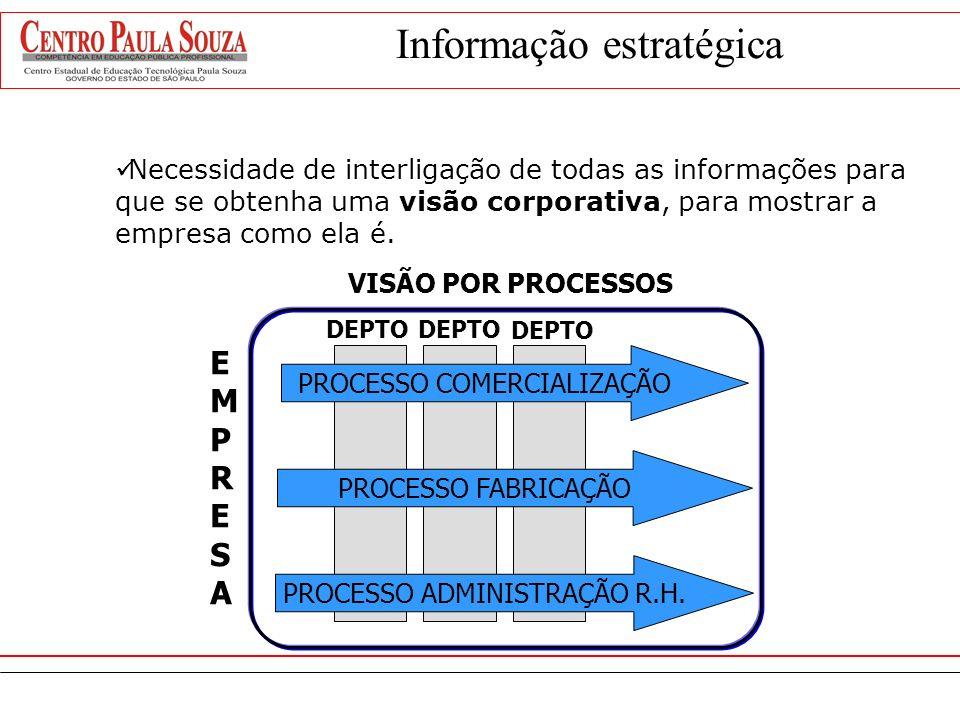 Informação estratégica A informação competitiva, ou informação estratégica, é necessária para criar e manter uma vantagem competitiva sobre a concorrê