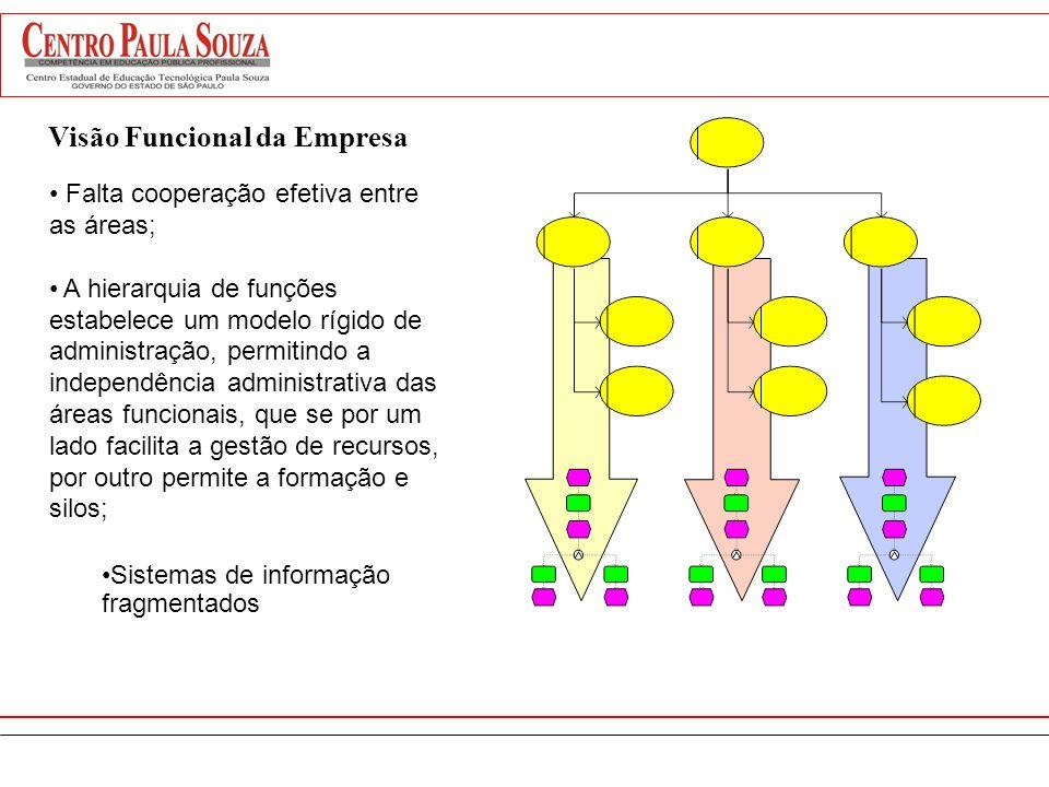 Visão Funcional da Empresa Foco na eficiência dos departamentos. Prejuízo pelas barreiras de comunicação entre os departamentos. Um resultado que é bo