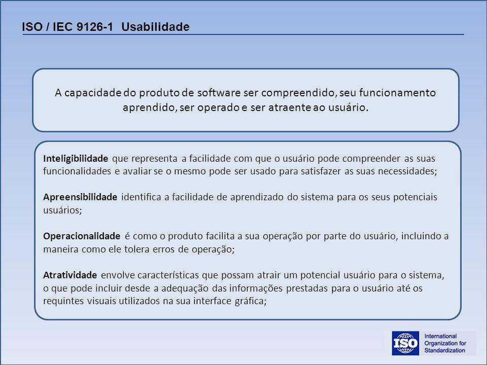 ISO / IEC 9126-1 Usabilidade A capacidade do produto de software ser compreendido, seu funcionamento aprendido, ser operado e ser atraente ao usuário.