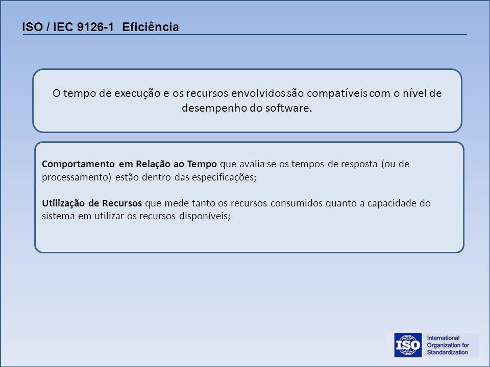 ISO / IEC 9126-1 Eficiência O tempo de execução e os recursos envolvidos são compatíveis com o nível de desempenho do software. Comportamento em Relaç