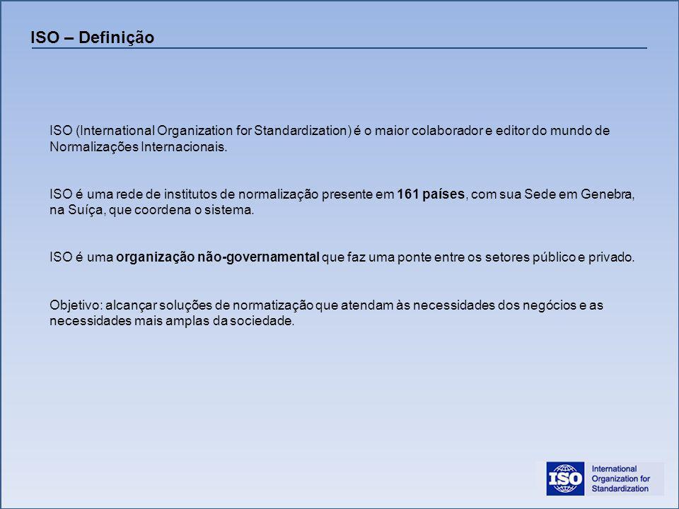 ISO (International Organization for Standardization) é o maior colaborador e editor do mundo de Normalizações Internacionais. ISO é uma rede de instit