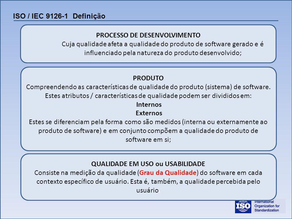 Propõe Atributos de Qualidade, distribuídos em seis características principais, com cada uma delas divididas em sub-características, conforme podemos ver na figura abaixo: ISO / IEC 9126-1 Características A Conformidade é utilizada para avaliar o quanto o software obedece aos requisitos de legislação e todo o tipo de padronização ou normalização aplicável ao contexto.