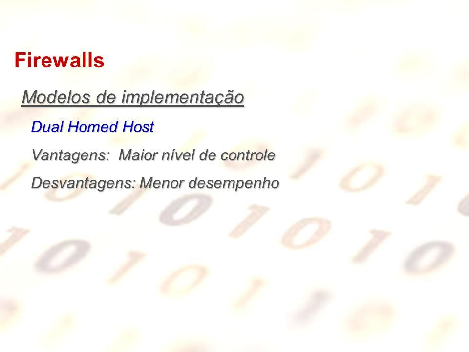 Firewalls Modelos de implementação Dual Homed Host Vantagens: Maior nível de controle Desvantagens: Menor desempenho