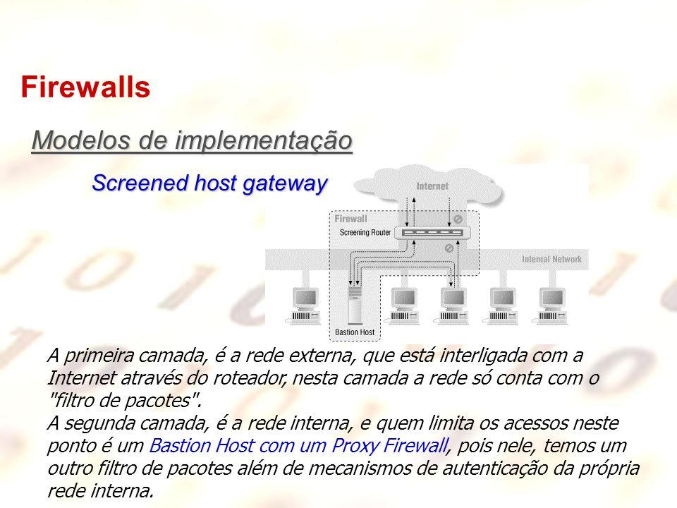 Firewalls A primeira camada, é a rede externa, que está interligada com a Internet através do roteador, nesta camada a rede só conta com o