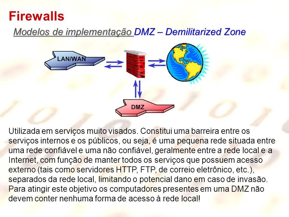 Firewalls Modelos de implementação DMZ – Demilitarized Zone Utilizada em serviços muito visados. Constitui uma barreira entre os serviços internos e o