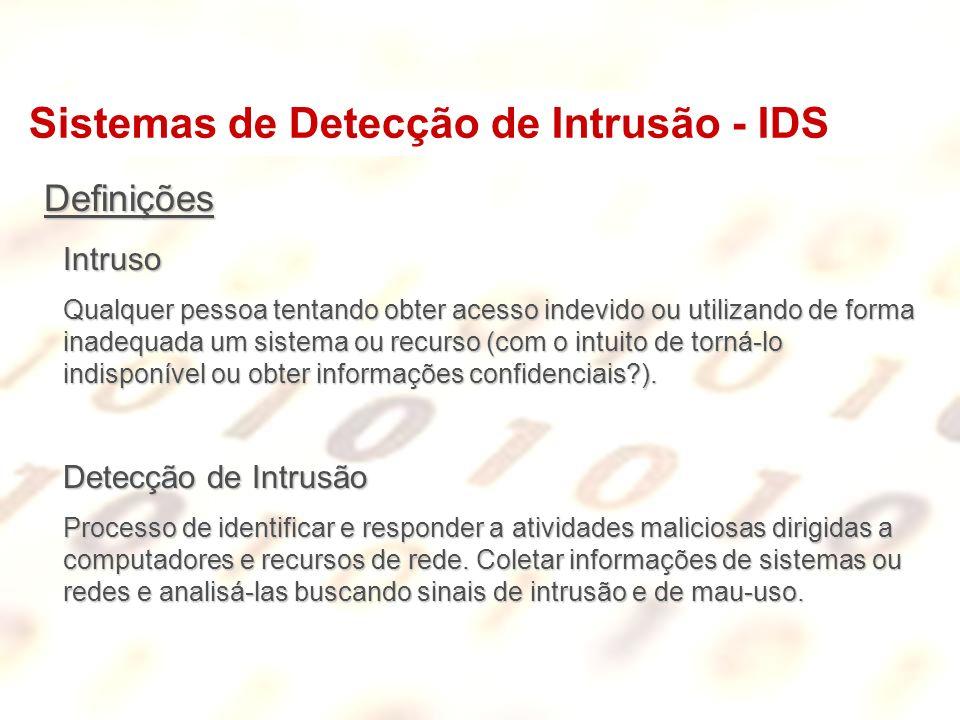 Sistemas de Detecção de Intrusão - IDS DefiniçõesIntruso Qualquer pessoa tentando obter acesso indevido ou utilizando de forma inadequada um sistema o