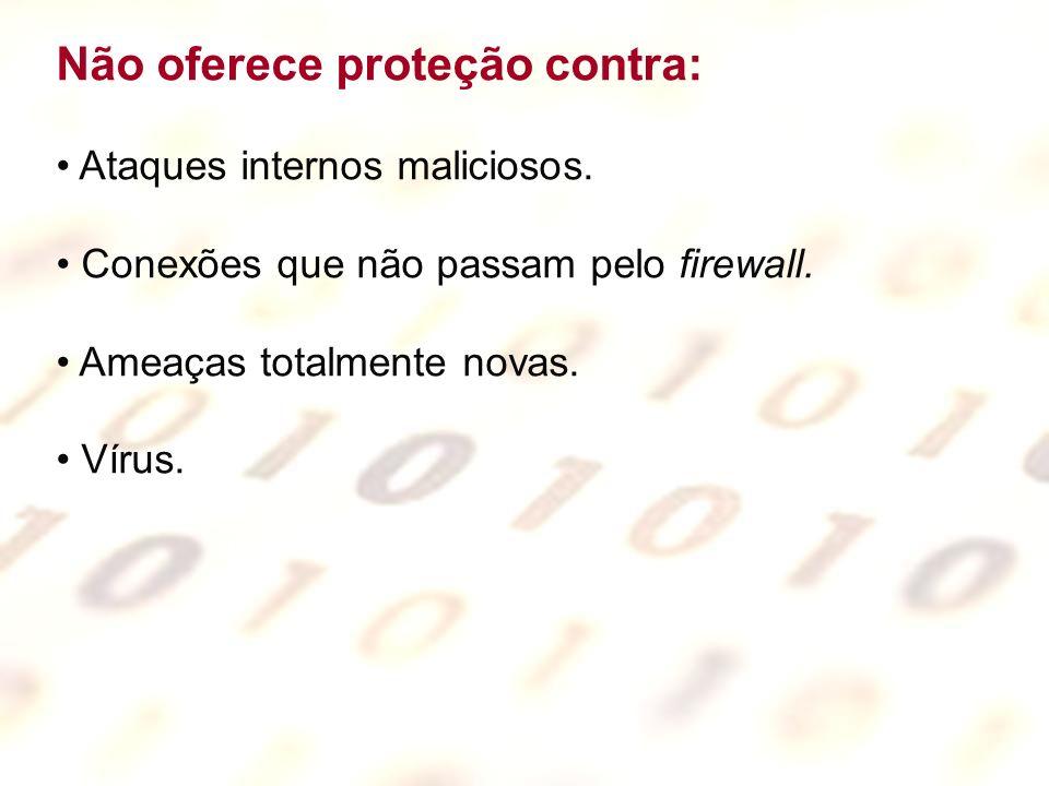 Firewalls Problemas relativos a firewalls Spoofing de endereços de origem Flooding de pedidos de conexão Arquivos cifrados ou imagens de textos Conexões paralelas na rede interna Ataques através de conexões permitidas