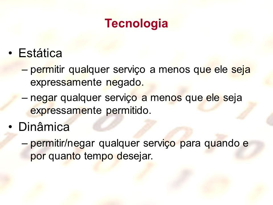 Tecnologia Estática –permitir qualquer serviço a menos que ele seja expressamente negado. –negar qualquer serviço a menos que ele seja expressamente p