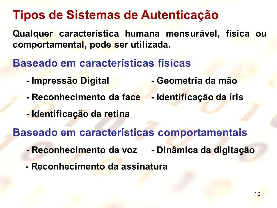 10 Tipos de Sistemas de Autenticação Qualquer característica humana mensurável, física ou comportamental, pode ser utilizada. Baseado em característic