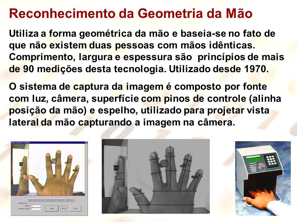 20 Reconhecimento da Geometria da Mão Utiliza a forma geométrica da mão e baseia-se no fato de que não existem duas pessoas com mãos idênticas. Compri