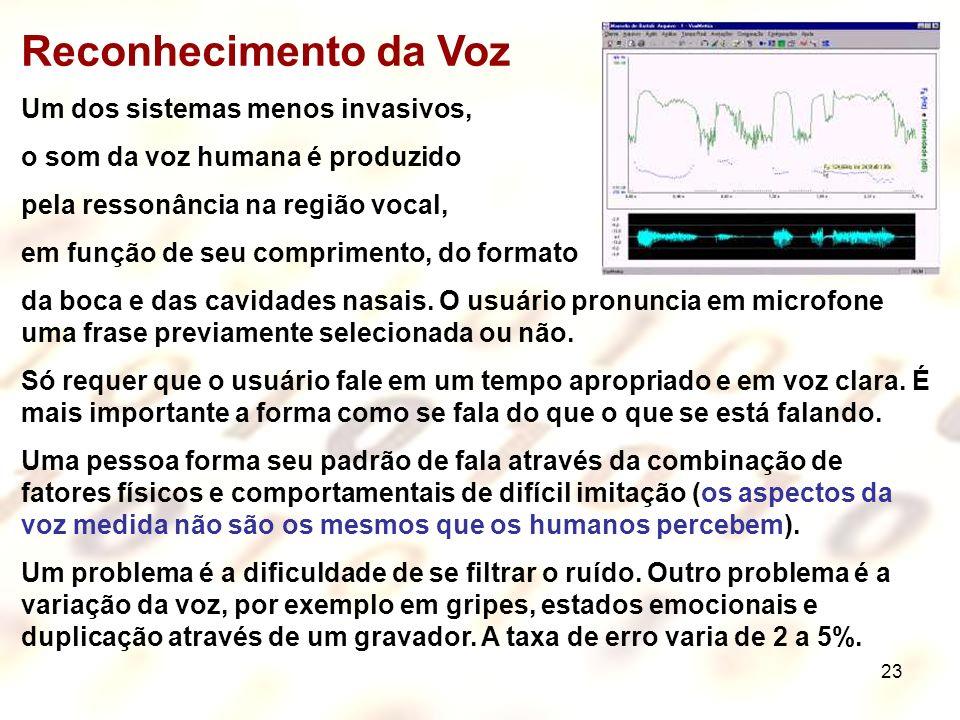 23 Reconhecimento da Voz Um dos sistemas menos invasivos, o som da voz humana é produzido pela ressonância na região vocal, em função de seu comprimen