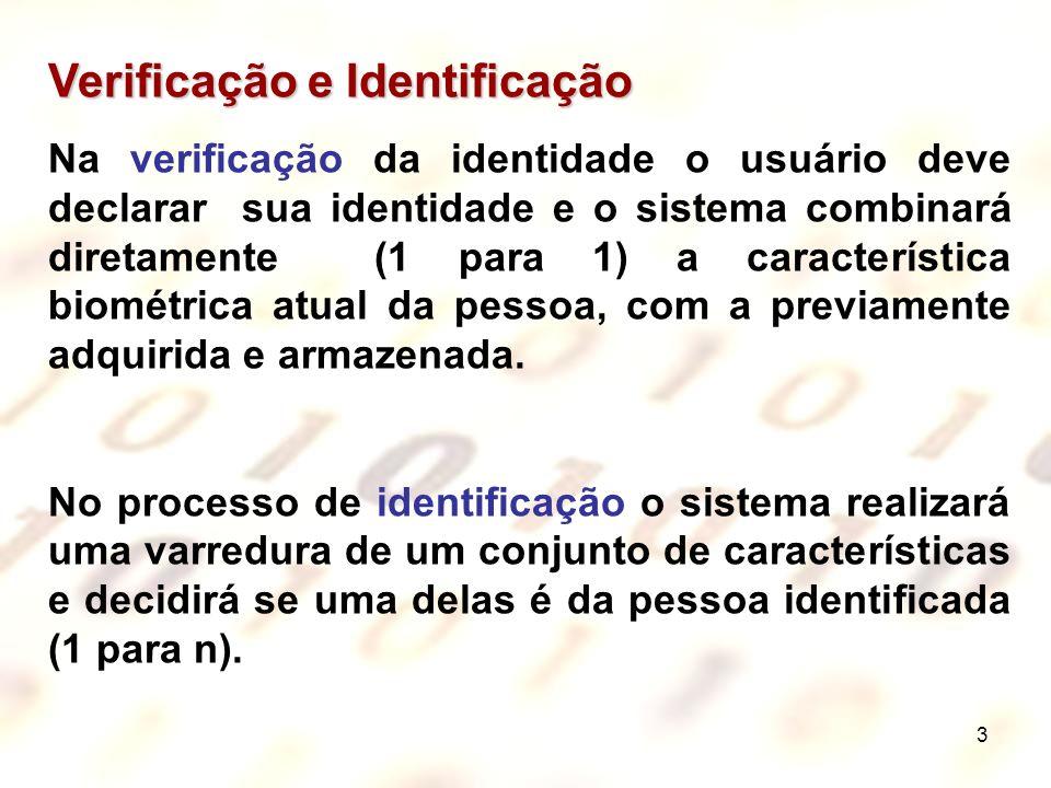 3 Verificação e Identificação Na verificação da identidade o usuário deve declarar sua identidade e o sistema combinará diretamente (1 para 1) a carac