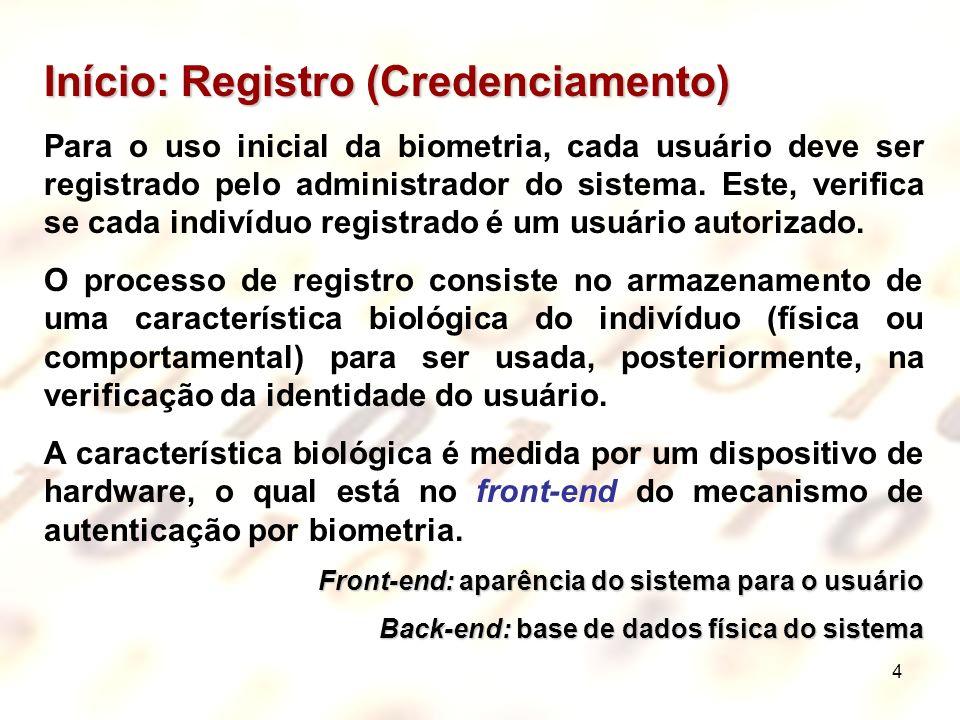 4 Início: Registro (Credenciamento) Para o uso inicial da biometria, cada usuário deve ser registrado pelo administrador do sistema. Este, verifica se