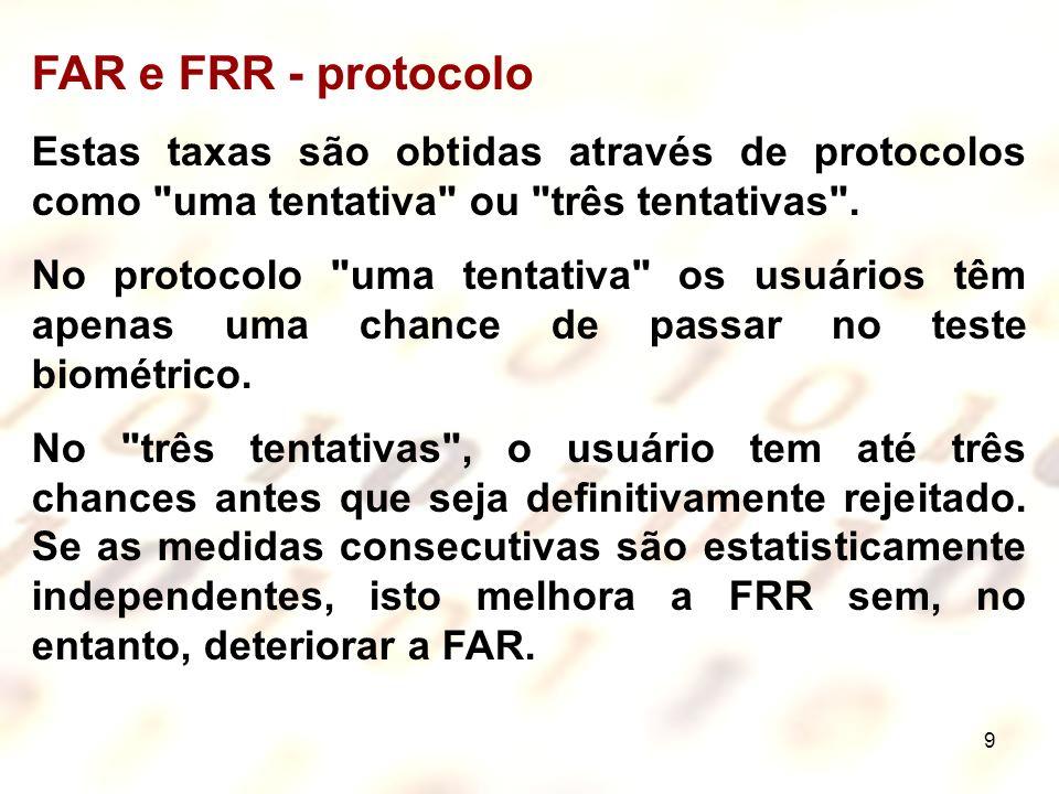 9 FAR e FRR - protocolo Estas taxas são obtidas através de protocolos como
