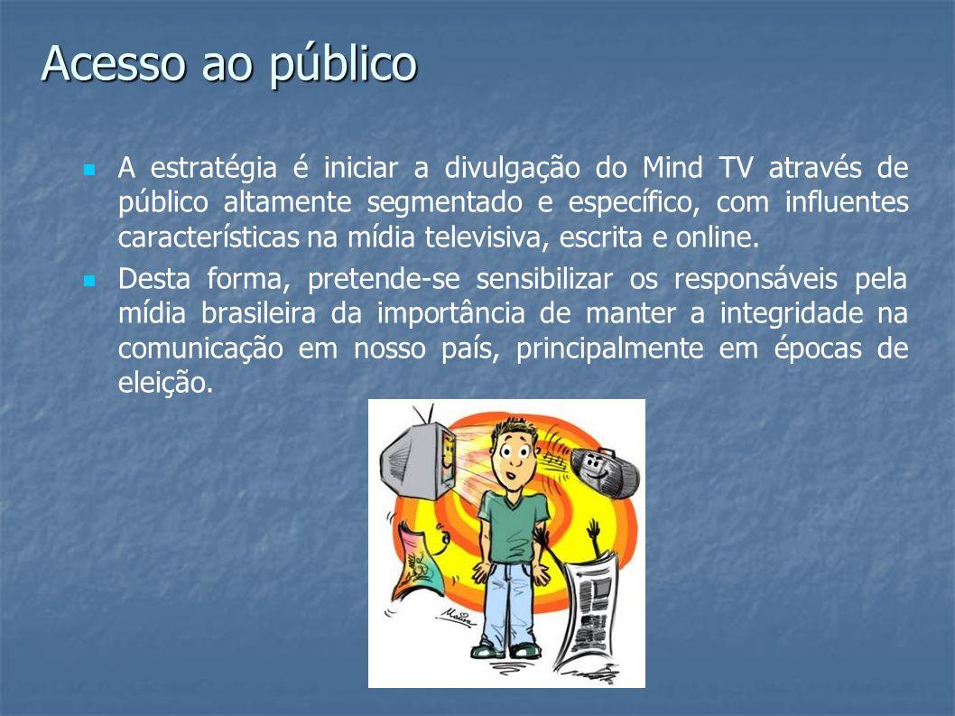 A estratégia é iniciar a divulgação do Mind TV através de público altamente segmentado e específico, com influentes características na mídia televisiv
