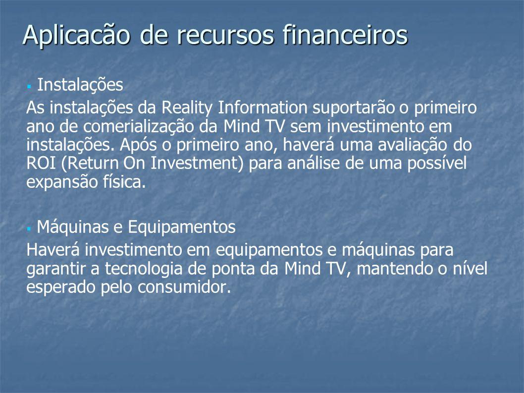 Instalações As instalações da Reality Information suportarão o primeiro ano de comerialização da Mind TV sem investimento em instalações. Após o prime