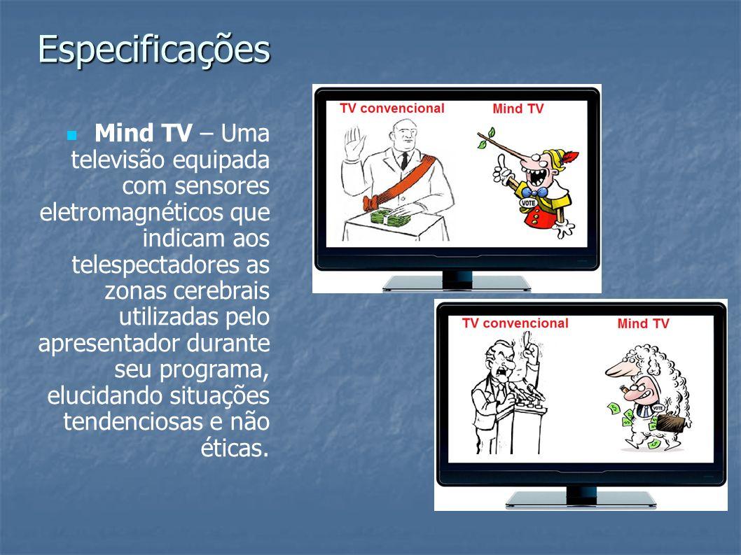 Mind TV – Uma televisão equipada com sensores eletromagnéticos que indicam aos telespectadores as zonas cerebrais utilizadas pelo apresentador durante
