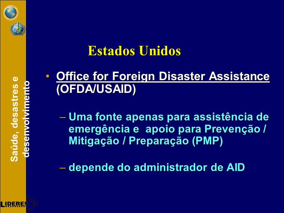 Saúde, desastres e desenvolvimento Office for Foreign Disaster Assistance (OFDA/USAID)Office for Foreign Disaster Assistance (OFDA/USAID) –Uma fonte apenas para assistência de emergência e apoio para Prevenção / Mitigação / Preparação (PMP) –depende do administrador de AID Estados Unidos