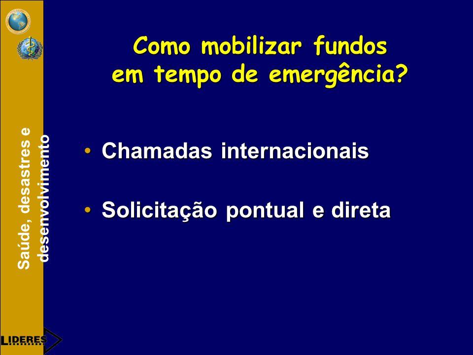 Saúde, desastres e desenvolvimento Como mobilizar fundos em tempo de emergência.