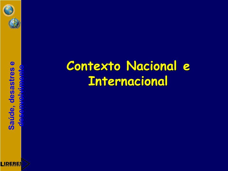 Saúde, desastres e desenvolvimento Contexto Nacional e Internacional