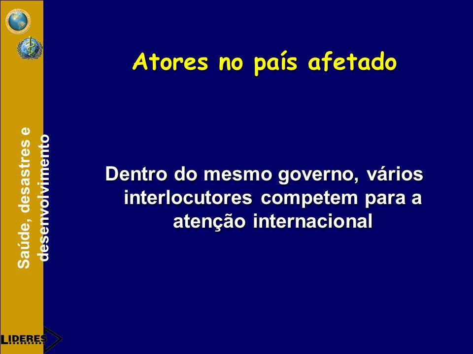 Saúde, desastres e desenvolvimento Atores no país afetado Dentro do mesmo governo, vários interlocutores competem para a atenção internacional