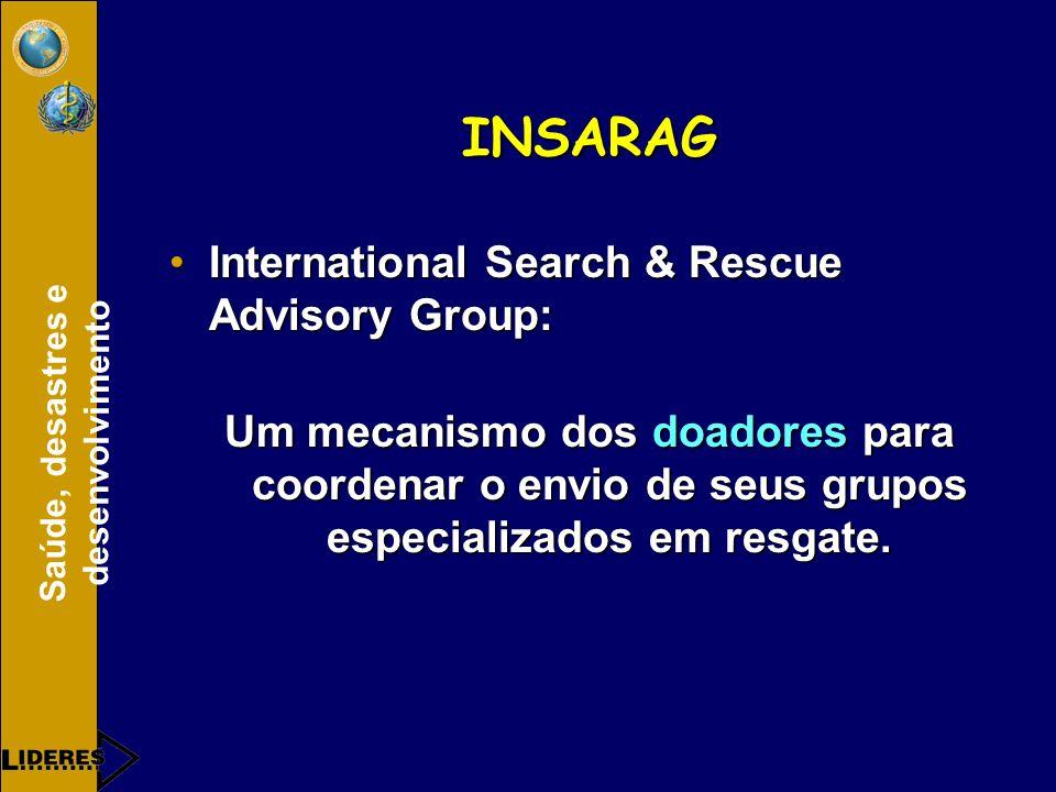 Saúde, desastres e desenvolvimento INSARAG International Search & Rescue Advisory Group:International Search & Rescue Advisory Group: Um mecanismo dos doadores para coordenar o envio de seus grupos especializados em resgate.