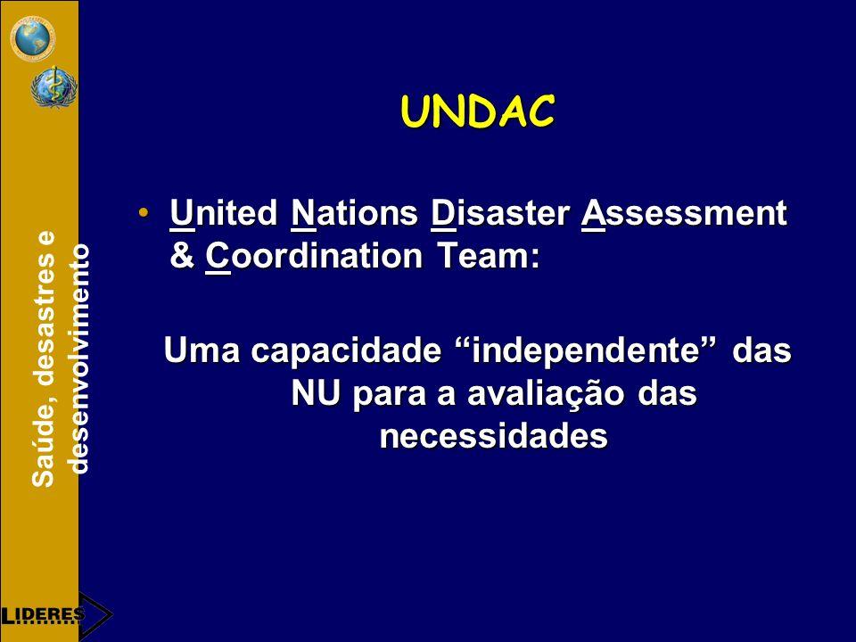 Saúde, desastres e desenvolvimento UNDAC United Nations Disaster Assessment & Coordination Team:United Nations Disaster Assessment & Coordination Team: Uma capacidade independente das NU para a avaliação das necessidades