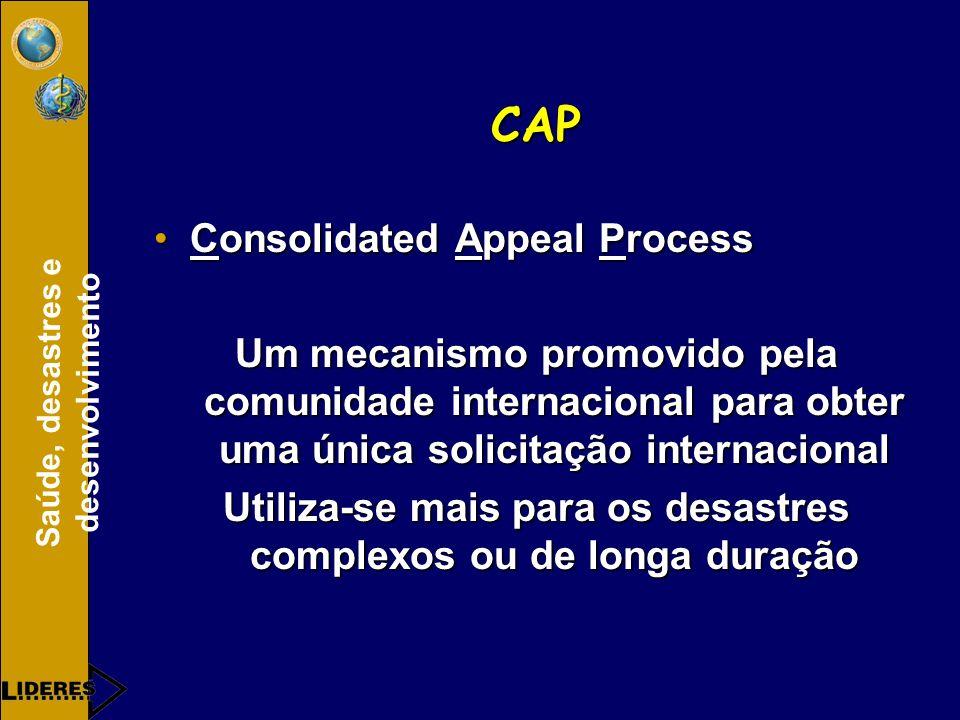 Saúde, desastres e desenvolvimento CAP Consolidated Appeal ProcessConsolidated Appeal Process Um mecanismo promovido pela comunidade internacional para obter uma única solicitação internacional Utiliza-se mais para os desastres complexos ou de longa duração
