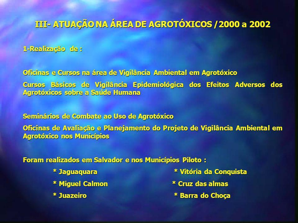 III- ATUAÇÃO NA ÁREA DE AGROTÓXICOS /2000 a 2002 1-Realização de : Oficinas e Cursos na área de Vigilância Ambiental em Agrotóxico Cursos Básicos de V