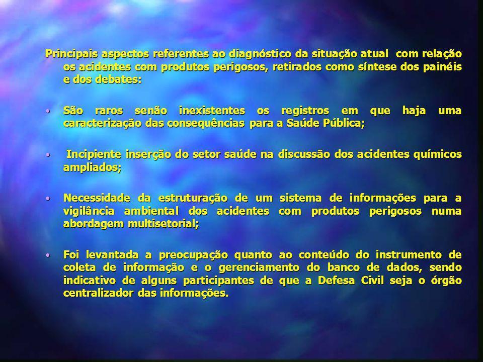 Principais aspectos referentes ao diagnóstico da situação atual com relação os acidentes com produtos perigosos, retirados como síntese dos painéis e