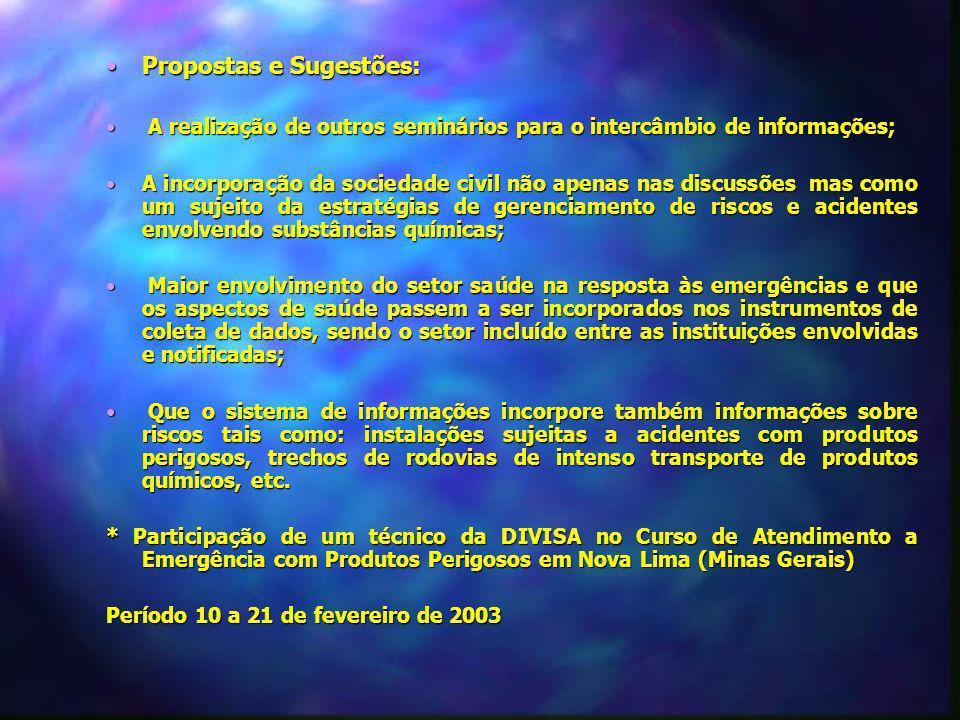 Propostas e Sugestões:Propostas e Sugestões: A realização de outros seminários para o intercâmbio de informações; A realização de outros seminários pa