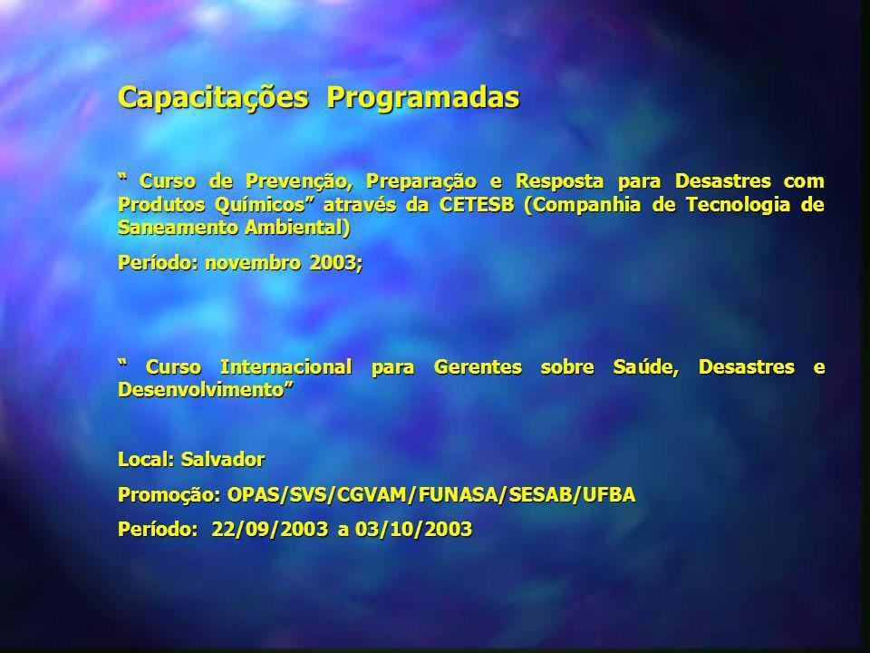 Capacitações Programadas Curso de Prevenção, Preparação e Resposta para Desastres com Produtos Químicos através da CETESB (Companhia de Tecnologia de