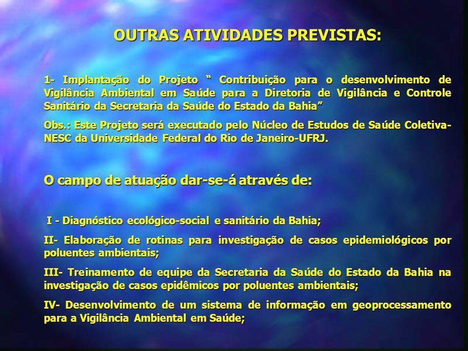 OUTRAS ATIVIDADES PREVISTAS: 1- Implantação do Projeto Contribuição para o desenvolvimento de Vigilância Ambiental em Saúde para a Diretoria de Vigilâ