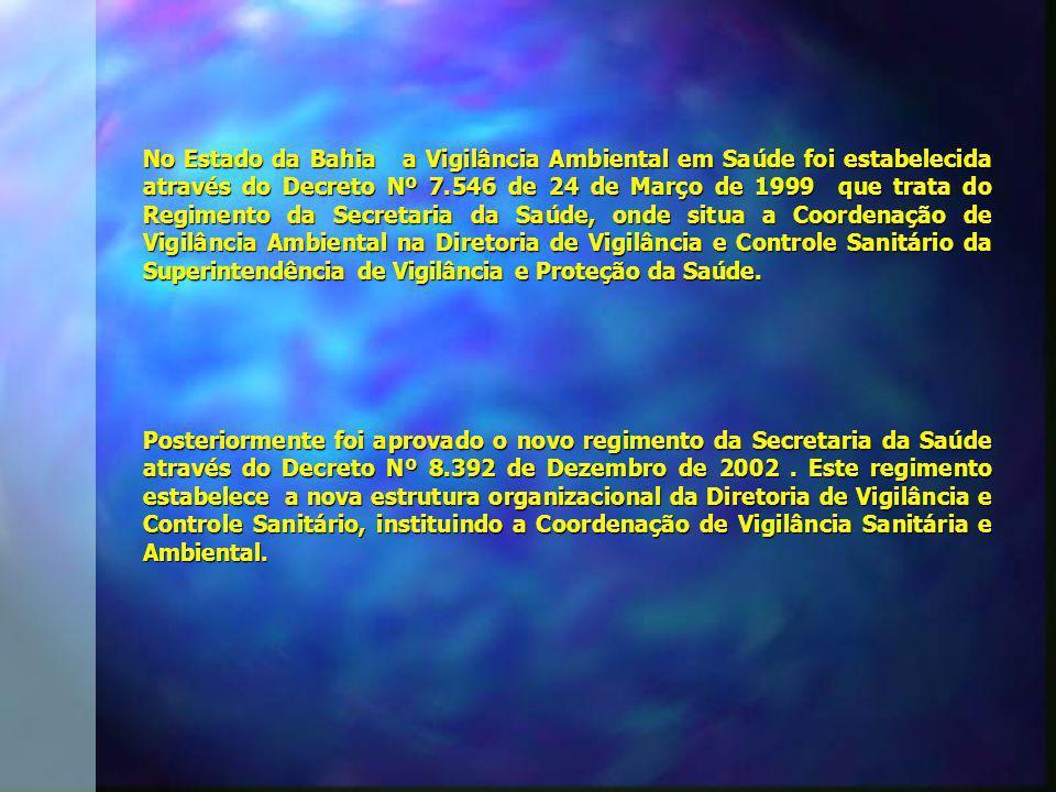 No Estado da Bahia a Vigilância Ambiental em Saúde foi estabelecida através do Decreto Nº 7.546 de 24 de Março de 1999 que trata do Regimento da Secre