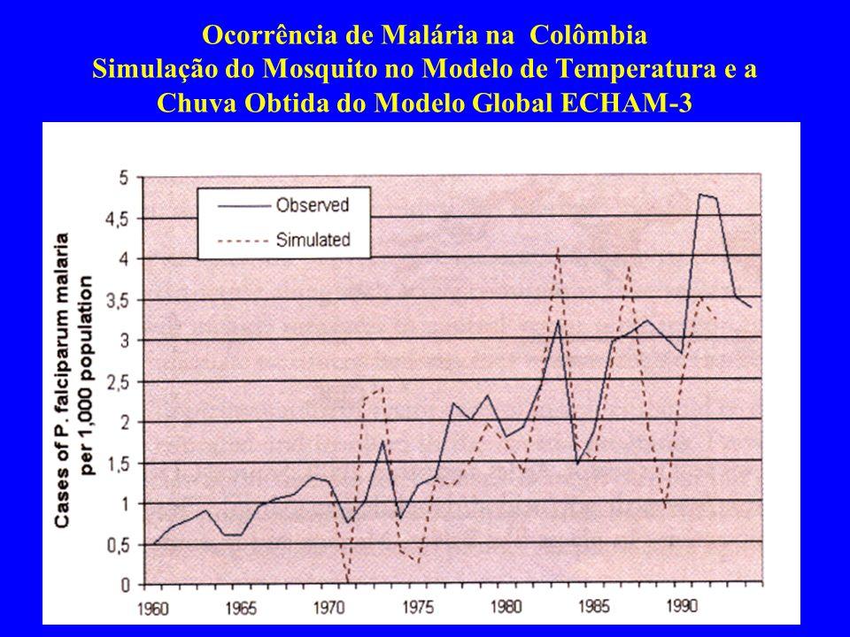 Ocorrência de Malária na Colômbia Simulação do Mosquito no Modelo de Temperatura e a Chuva Obtida do Modelo Global ECHAM-3