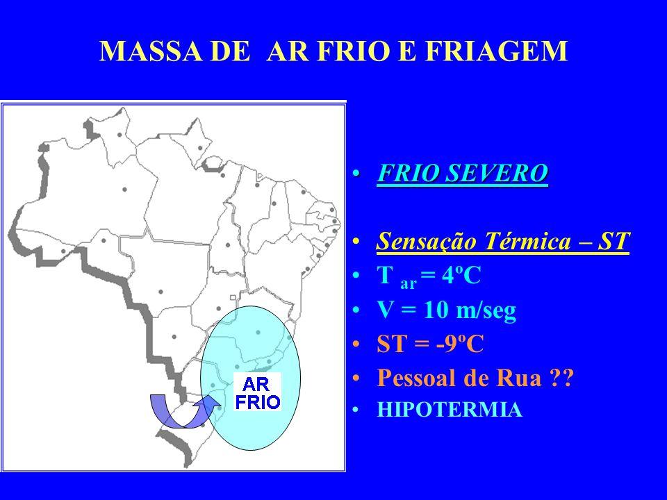 MASSA DE AR FRIO E FRIAGEM FRIO SEVEROFRIO SEVERO Sensação Térmica – ST T ar = 4ºC V = 10 m/seg ST = -9ºC Pessoal de Rua ?.