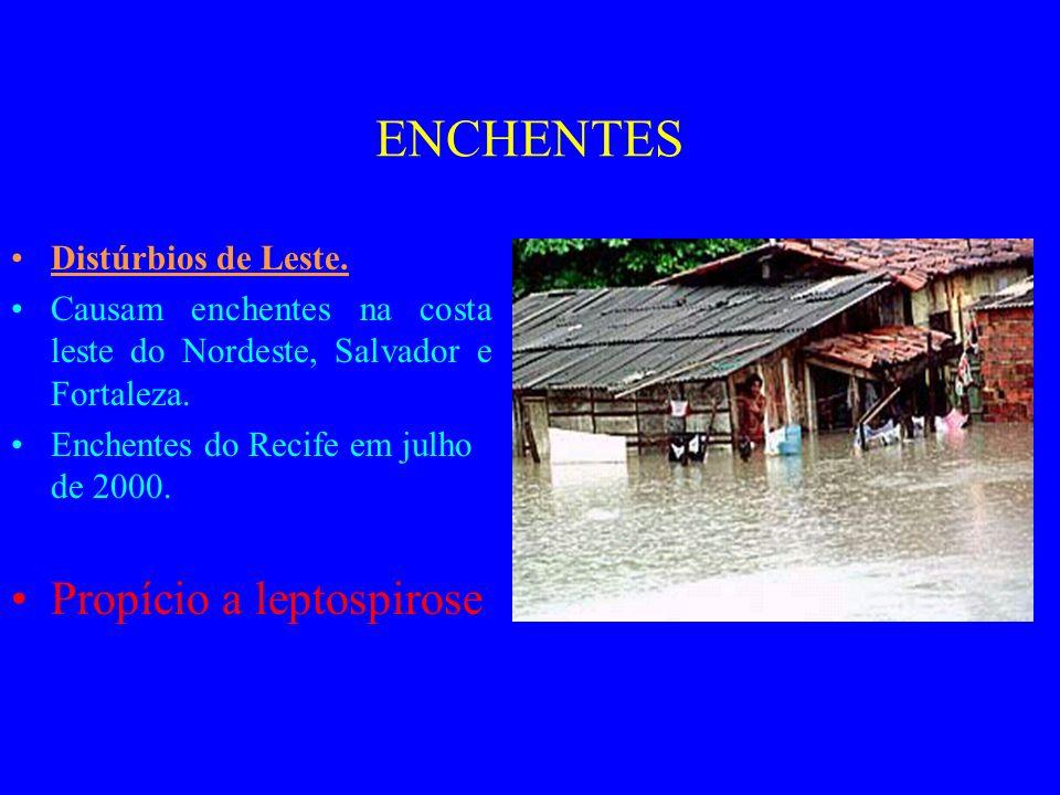 ENCHENTES Distúrbios de Leste.Causam enchentes na costa leste do Nordeste, Salvador e Fortaleza.